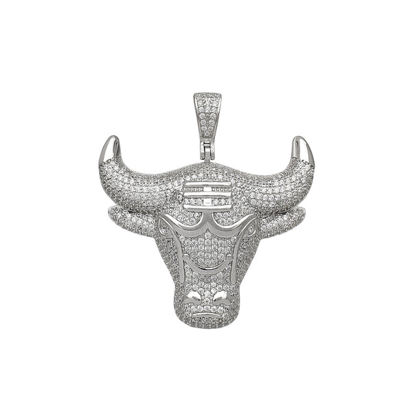 Iced-Out Bull Head Pendant (Silver) Popular Jewelry New York