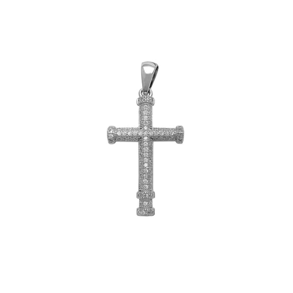 Iced-Out Cross Pendant (Silver) Popular Jewelry New York