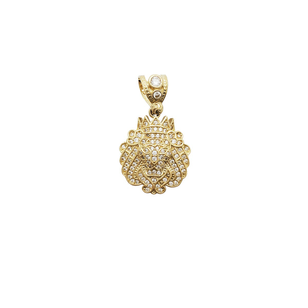Iced-Out Crowned Lion CZ Pendant (14K)
