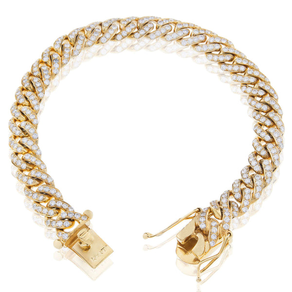 Iced-Out Cuban Anklet Bracelet (14K) Popular Jewelry New York