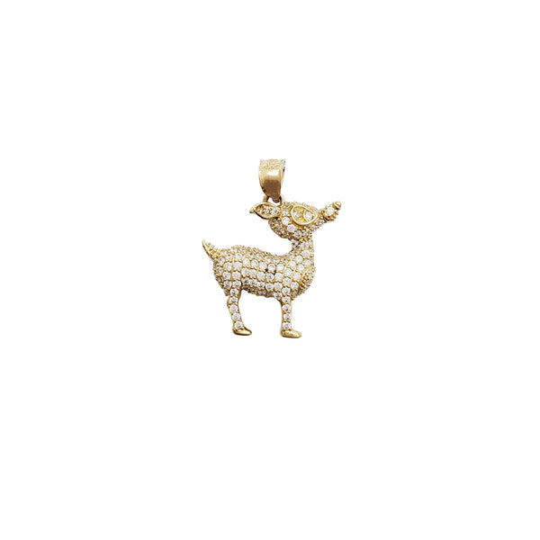 Iced-Out Deer CZ Pendant (14K)