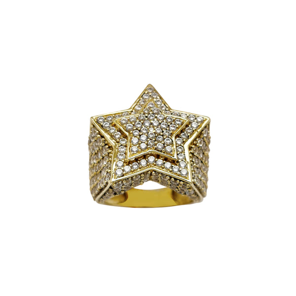 Iced-Out Double Star Ring (10K) Popular Jewelry New York