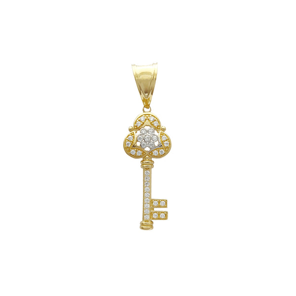 Iced-Out Floral Key Pendant (14K) Popular Jewelry New York