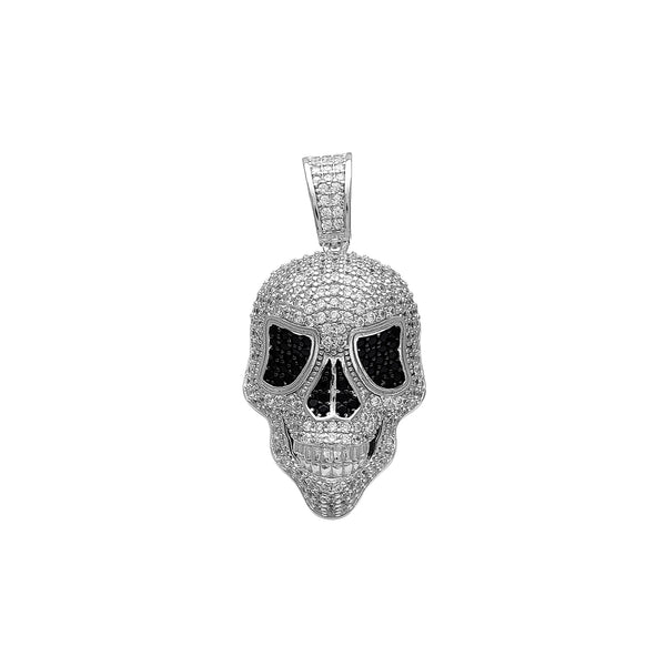 Iced-Out Ghost Skull Pendant (Silver) Popular Jewelry New York