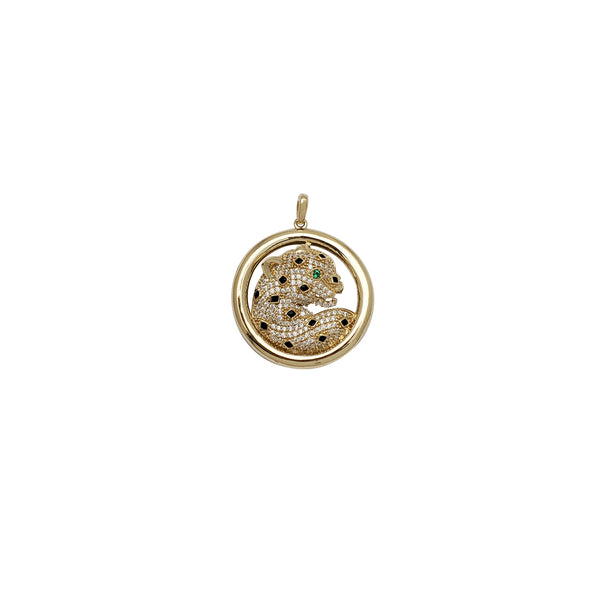 Iced-Out Jaguar Round CZ Pendant (14K)