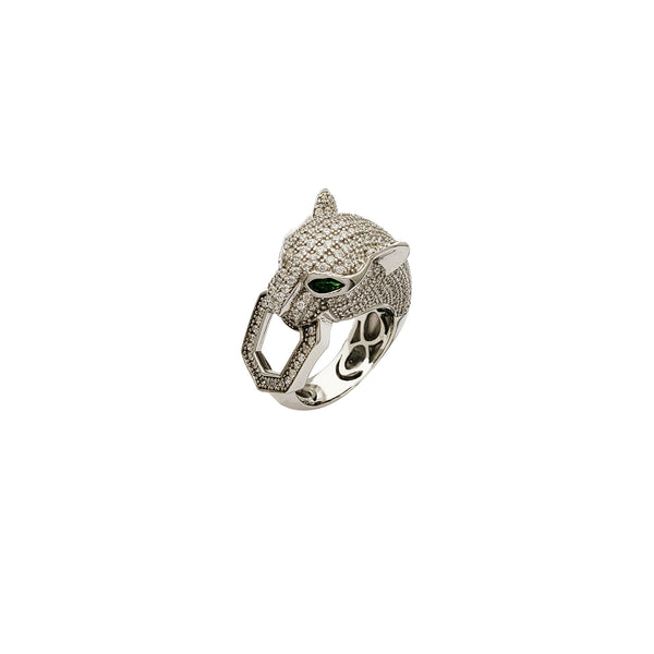 Iced-Out Panther CZ Ring (Silver)