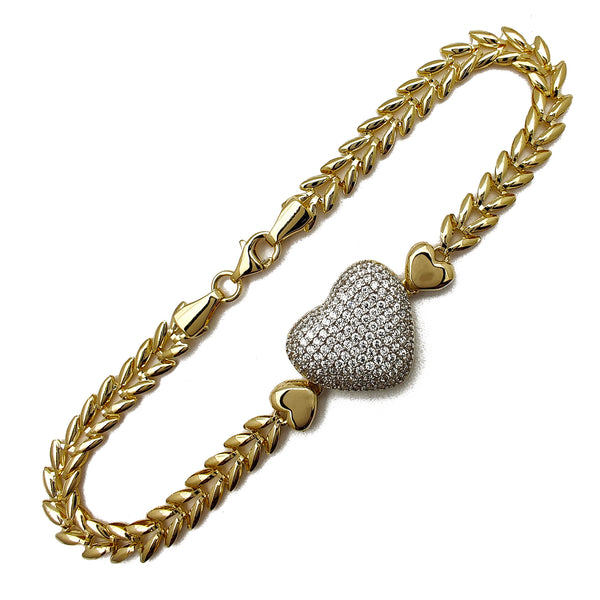 Pave Puffy Heart Leaf Bracelet (14K) Popular Jewelry New York