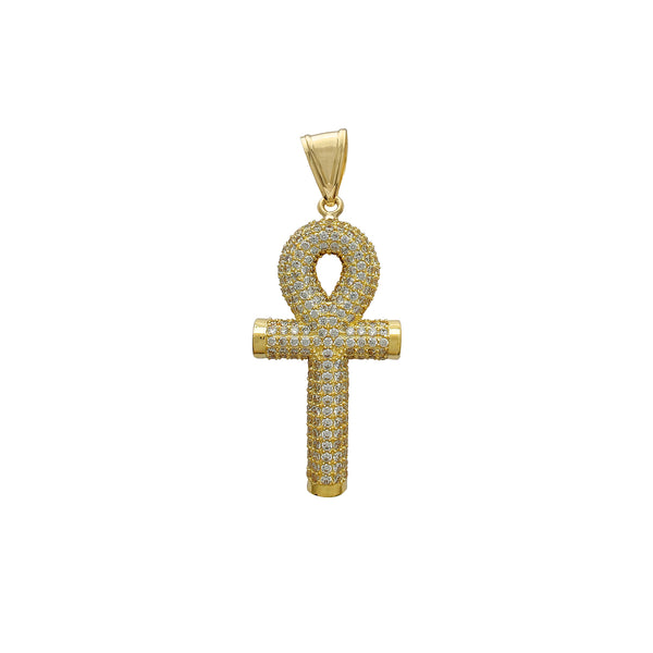 Iced-Out Puffy Mesh-Back Ankh Pendant (14K) Popular Jewelry New York