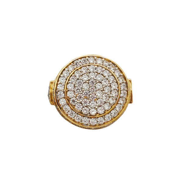 Iced-Out Round Signet Ring (10K) Popular Jewelry New York