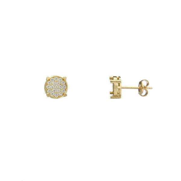 Iced-Out Round Stud Earrings (14K) Popular Jewelry New York