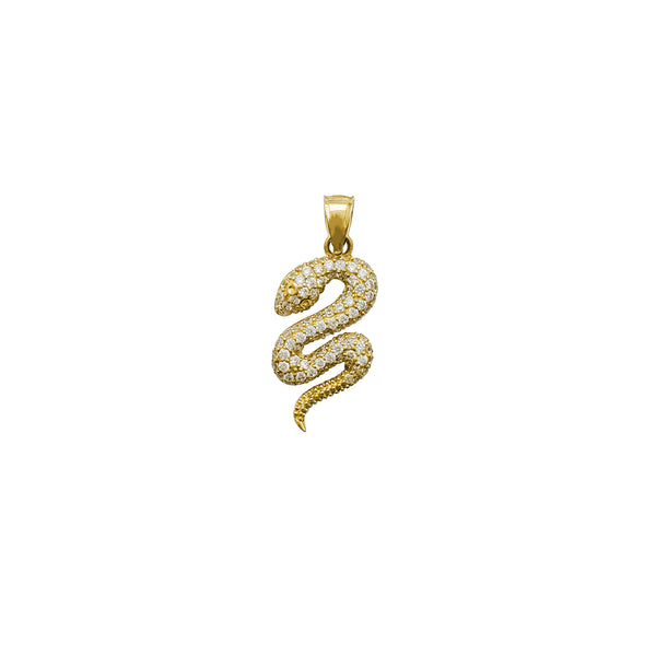 Iced-Out Snake CZ Pendant (14K)