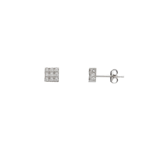 Iced-Out Square Stud Earrings (14K) Popular Jewelry New York