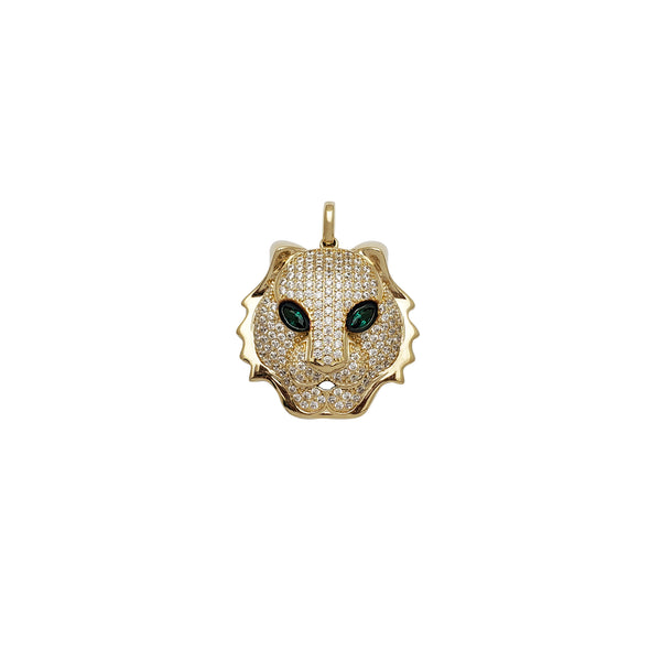Iced-Out Tiger Head CZ Pendant (14K)
