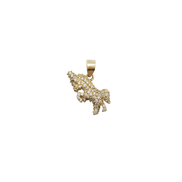 Iced-Out Unicorn CZ Pendant (14K)