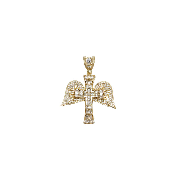 Iced-Out Winged Cross CZ Pendant (14K)