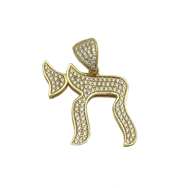 Iced-Out Chai Symbol CZ 펜던트 (14K).