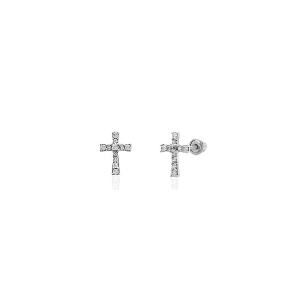 Iced-Out Cross CZ Stud Earrings (14K) 14 Karat White Gold, Popular Jewelry New York