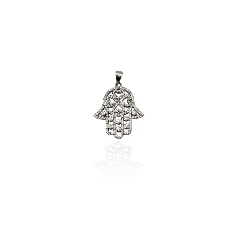 Iced-Out Four Leaf Clover Hamsa CZ Pendant (Silver) New York Popular Jewelry