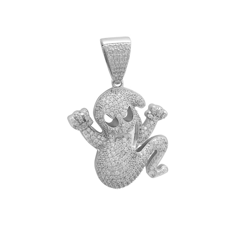 Iced-Out Ghost CZ Pendant (Silver) Popular Jewelry New York