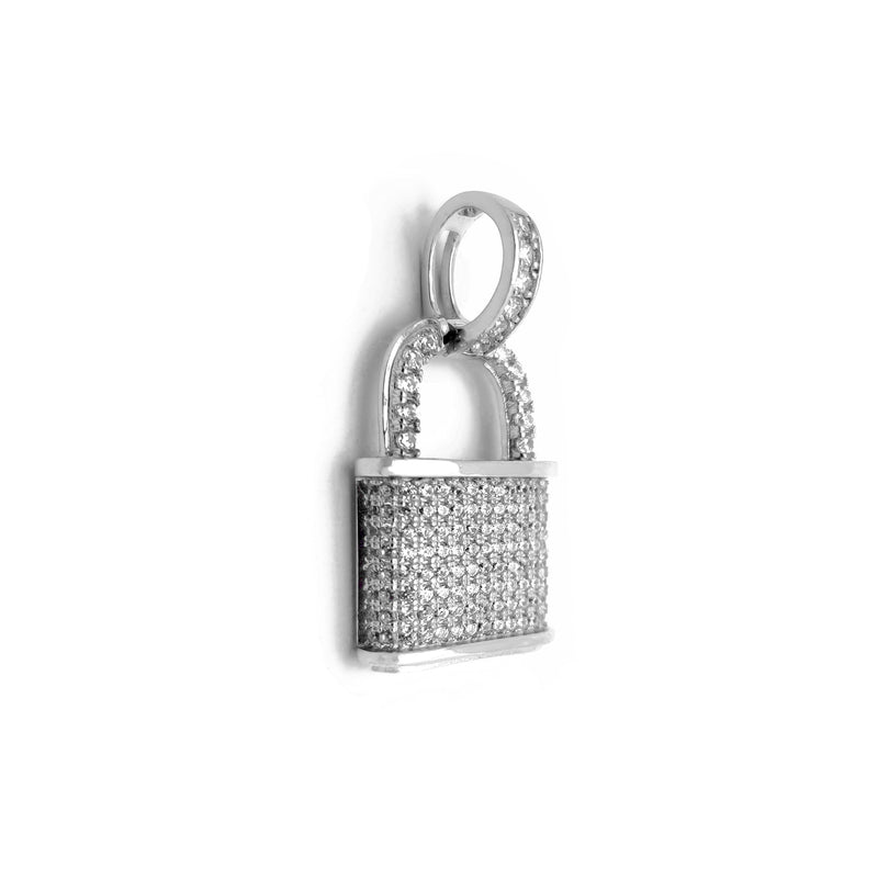Iced-Out Lock Pendant (Silver) Popular Jewelry New York