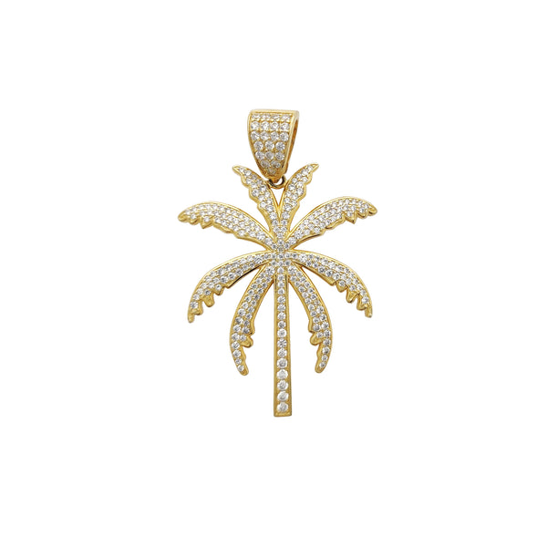 Iced-Out Palm Tree Pendant Yellow (Silver) Popular Jewelry New York