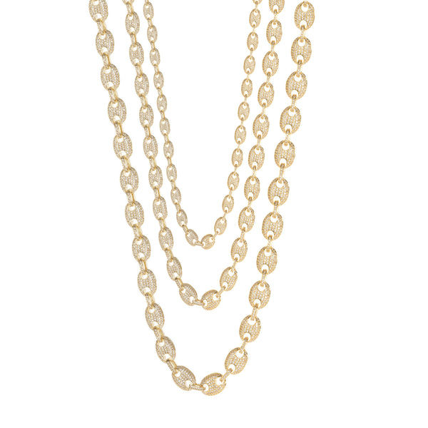 Iced-Out Puffy Gucci Chain (14K; Cubic Zirconia)
