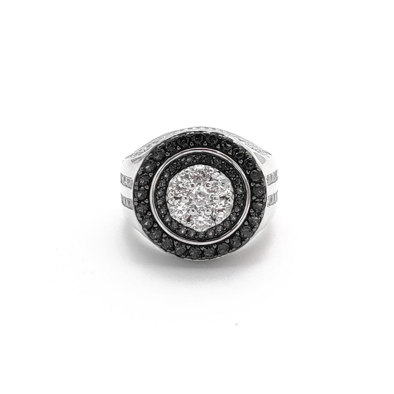 Iced-Out Round Empire Ring (Silver)