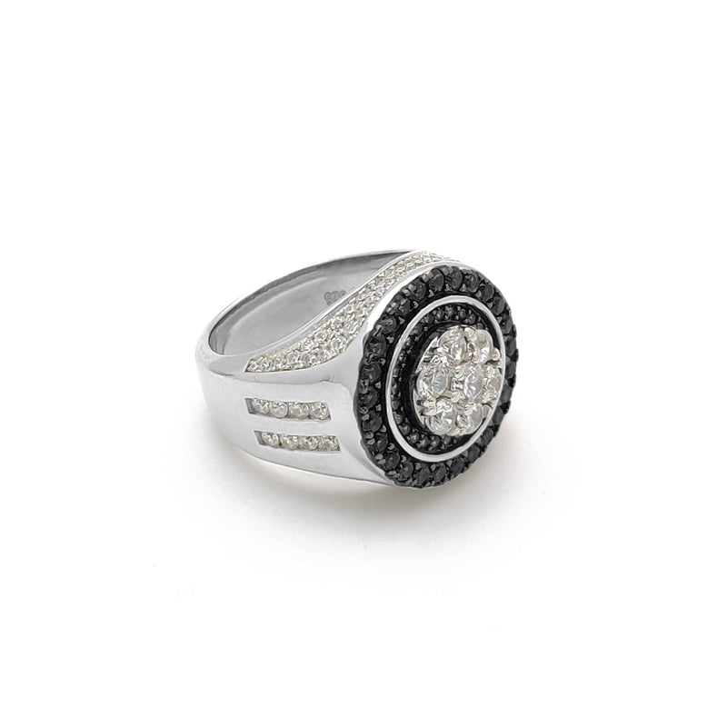 Iced-Out Round Black Empire Ring (Silver) Popular Jewelry New York