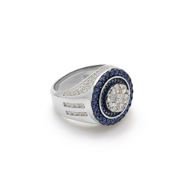 Iced-out ronde donkere blauwe ryk ring (sulver) Popular Jewelry New York