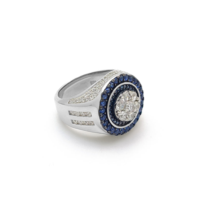 Iced-Out Round Dark Blue Empire Ring (Silver) Popular Jewelry New York