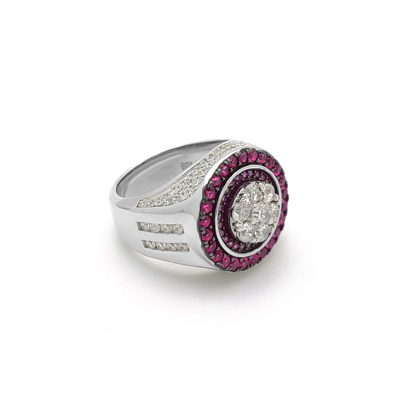 Iced-Out Round Pink Empire Ring (Silver) Popular Jewelry New York