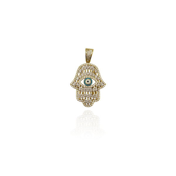 Iced-Out Shiny Hamsa CZ 펜던트 (실버) 뉴욕 Popular Jewelry