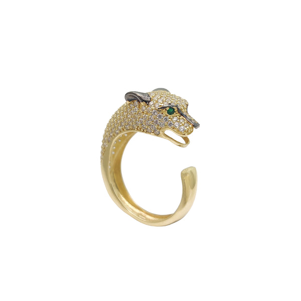 Iced Out Panther башчысы CZ Ring (14к) Popular Jewelry New York