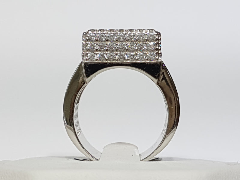 CZ Pavé Box Ring Silver - Popular Jewelry
