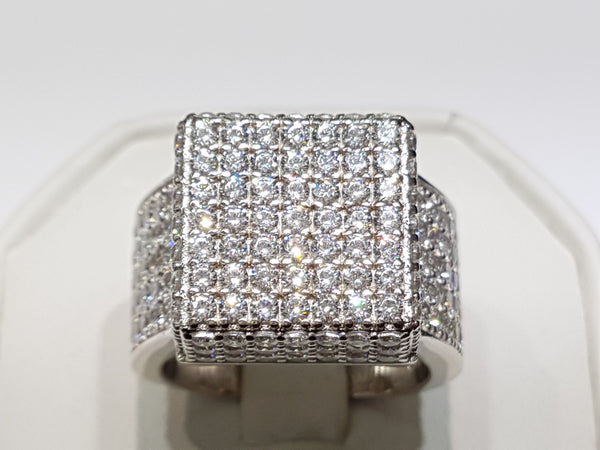 Iced-Out Pave Square Ring Silver - Lucky Diamond 恆福珠寶金行 New York City 169 Canal Street 10013 Jewelry store Playboi Charlie Chinatown @luckydiamondny 2124311180