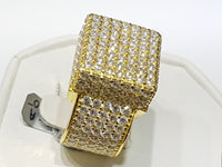 CZ Pavé Box Ring Silver (Dilaw) - Popular Jewelry