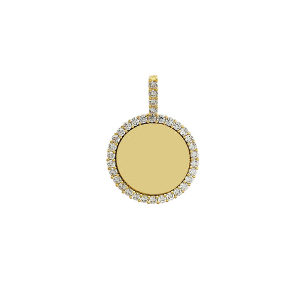 Iced-Out Border Round Medallion Memorial Picture Pendant (14K)