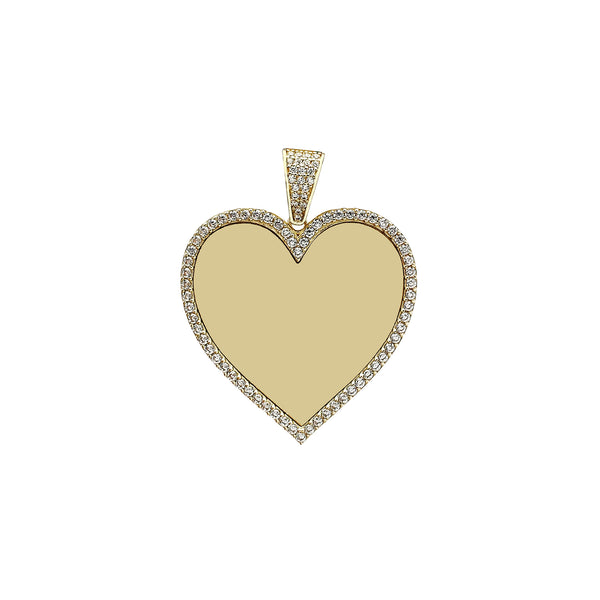 Medium Size Icy Heart Memorial Picture Pendant (14K) Popular Jewelry New York