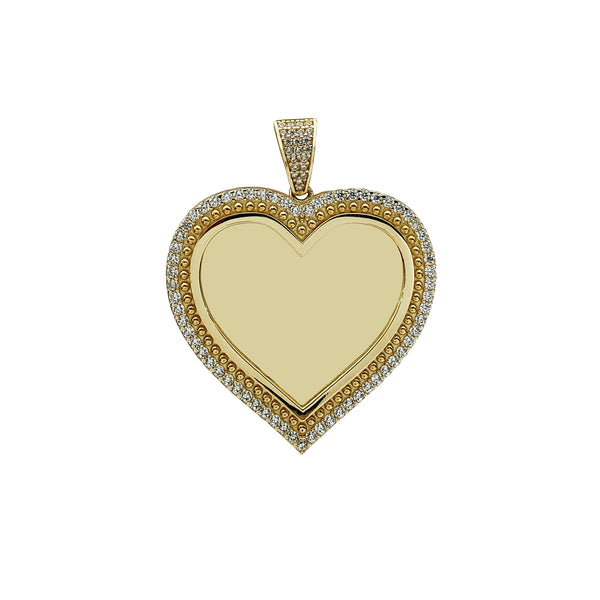 Icy Milgrain Heart Memorial Picture Pendant (14K) Popular Jewelry New York