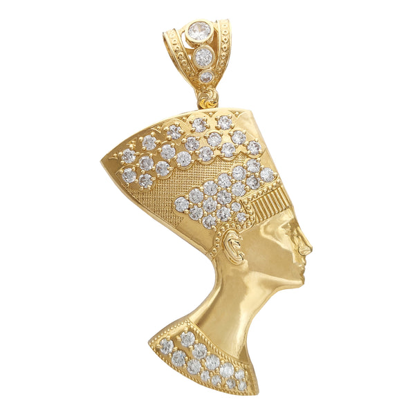 Large Size Icy Nefertiti Pendant (14K) Popular Jewelry New York