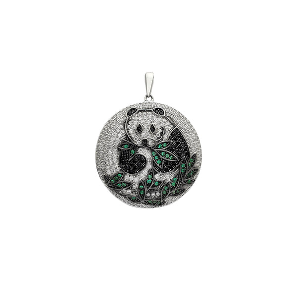 Icy Panda Round Medallion Pendant (Silver)