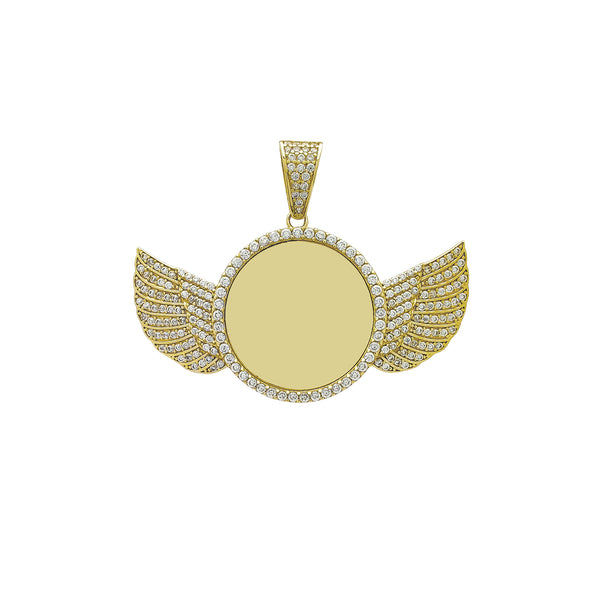 Icy Winged Round Medallion Memorial Picture Pendant (14K) Popular Jewelry New York