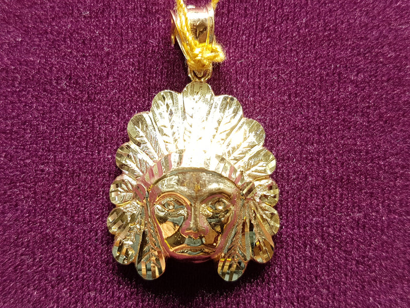 Indian Chief Head Pendant 10K - Lucky Diamond 恆福珠寶金行 New York City 169 Canal Street 10013 Jewelry store Playboi Charlie Chinatown @luckydiamondny 2124311180
