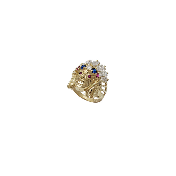 Indian Head CZ Ring (14K)