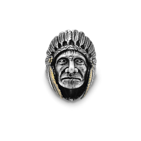 Antique-Finish Indian Head Chief Ring (Silver)  Popular Jewelry New York