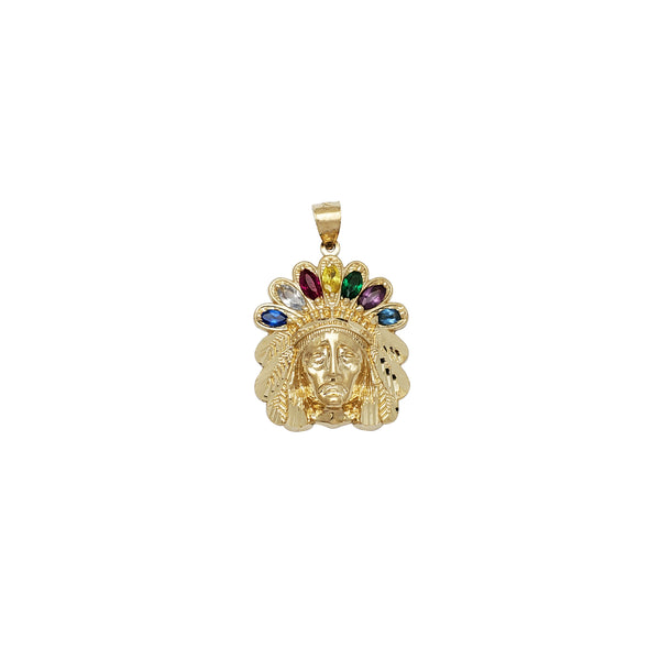 Indian Head Multi CZ Pendant (14K)