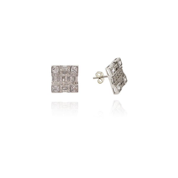 Arctic Quadrant Stud Earrings (Silver)