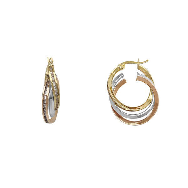 Interlocked Channel Setting Trio-Hoops Earrings (14K) Popular Jewelry New York