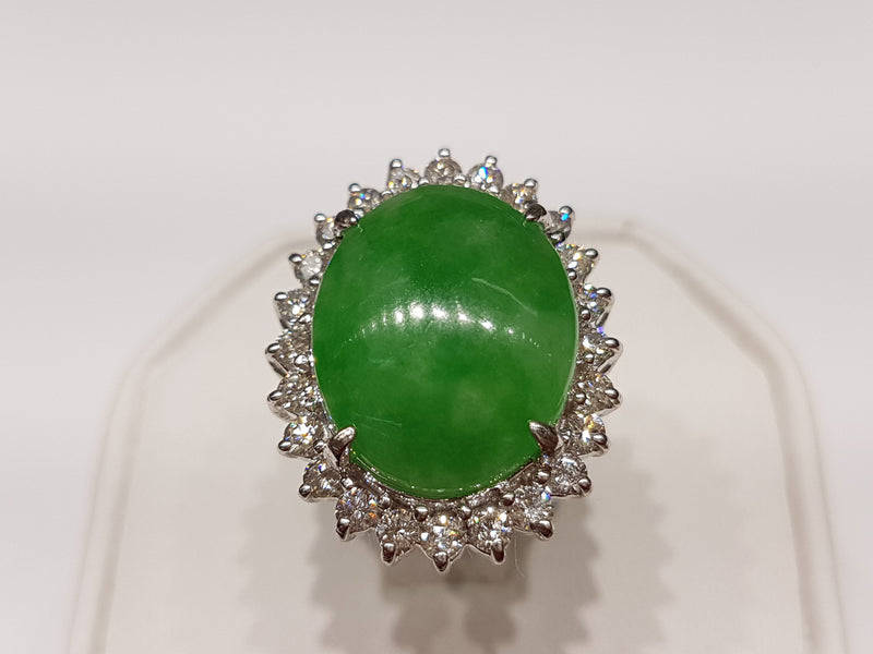 Jade and Diamond Lady's Cocktail Ring 18K - Lucky Diamond 恆福珠寶金行 New York City 169 Canal Street 10013 Jewelry store Playboi Charlie Chinatown @luckydiamondny 2124311180