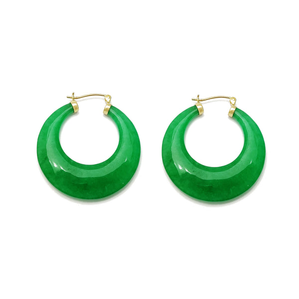 Jade Hoops Earrings (14K) Popular Jewelry New York